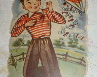 On Sale All of Them But You Can Go Fly a Kite  UNUSED Vintage Valentine Greeting Boy With Kite
