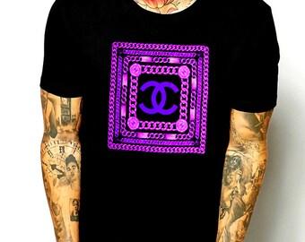 Chanel inspired purple chains logo black shirt M or L