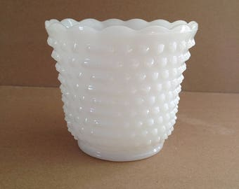 Vintage Hobnail Milk Glass Planter, Jardiniere, Flower Pot, Cachepot, Anchor Hocking, Mid Century, 1960s, Measures 4.5 Inches T X 5 Inches D