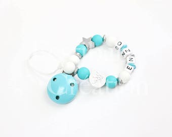 """Pacifier clip personalized silicone beads - model """"Enzo"""""""