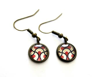 """Earrings earrings cabochon """"abstract sixties red Arabesque"""" - retro bronze brass"""