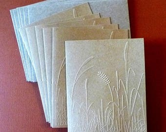 6 Embossed Brown Kraft Note Cards, Blank Inside, Hand Crafted, Earthy, All Occasion, Stationery, Thank You, Hostess Gift