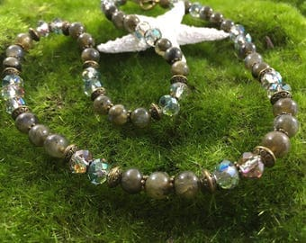 Handmade OOAK Labrodite and Crystal Antique Bronze Necklace, Bracelet or Set with Free Earrings - Beaded Jewelry - Shades of Grey