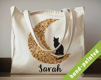 personalized cat tote bag/ cat lover gift/ custom name/ birthday gift/ canvas tote bag/ cat gifts/ hand painted bag/ cotton eco bag