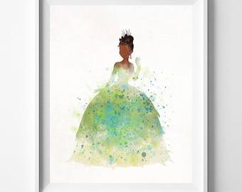 Tiana Art, Tiana Poster, Disney Princess, Tiana Print, Princess and the Frog, Disney Tiana, Watercolor Poster, Type 1, Valentines Day Gift