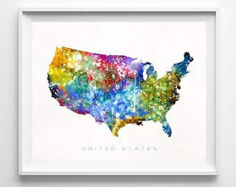 Watercolor Usa Map Etsy - Us map to print