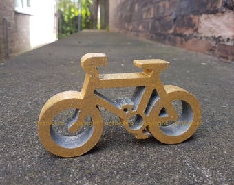 Wooden Bicycle, 13.6 cm x 8 cm, gold silver