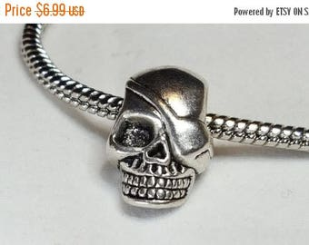 25%off Evil Scary Looking Skull with an Evil Grin Scariest Skull Charm has Patch on Eye!  - Fits all Designer and European Charm Bracelets*