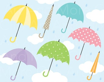 Umbrella Clipart 19 Clip Art Rain Sky Cloud Pattern Background Clipart - Personal and Commercial Use