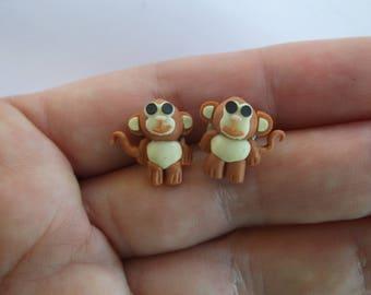 Cute Monkey Post Stud Earrings, Little Monkey Stud Pierced Earrings, Super Cute