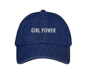 "GIRL POWER Dad Hat, Embroidered ""Girl Power"" Feminism Hat, Low Profile Feminist Girl Gang Baseball Cap Hat, Dark Denim"
