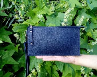Leather bag, bag, purse, leather purse, leather clutch, dark blue bag, dark blue purse, cosmetic bag, wallet,gadget case. Handmade item.