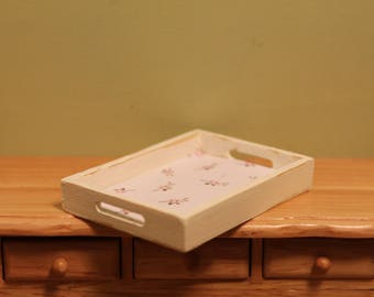 DOLLHOUSE MINIATURE Tray With Pale Pink Flowes, 1:12 Scale