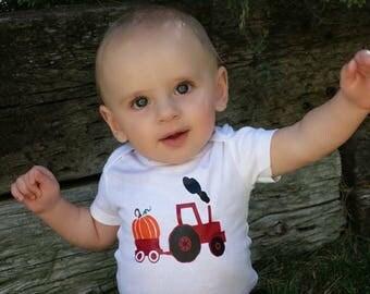 Fall Tractor // Fall Shirt // Boy's =Fall Shirt // Pumpkin Tractor // Thanksgiving Tractor Shirt // Tractor Shirt // Fall Pumpkin Shirt