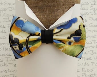 Bow ties for men. pre tied bow tie, countryside scene bow tie
