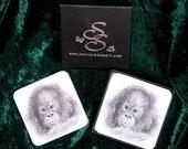 3 Baby Orang  & 3 Black Labrador Coasters