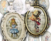 80% off Mothers Day Sale Alice in Wonderland Digital Collag Sheet Alice Party Decorations Decor Oval Cabochon Images for Jewelry Making Inst