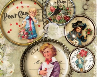 80%  off Graphics Sale Vintage Victorian Valentine 1 Inch Digital Collage Sheet Images for Bottlecaps Jewelry Making Round Circles for Penda