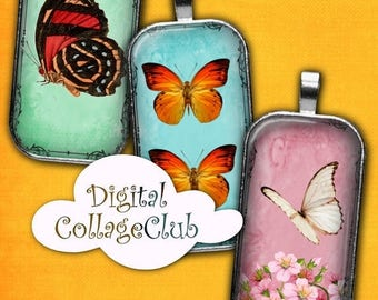 80 % off Graphics SaLe Butterfly Digital Collage Sheet 1 x 2 Inches Rectangle Domino Images for Pendants Digital Butterly Images Shabby Chic