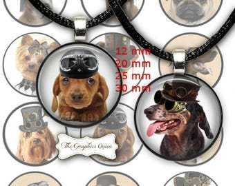 80 % off Graphics SaLe Steampunk Dogs 1 inch Digital Collage Circles Round Images for Bottle Caps Instant Download Steampunk Jewelry Necklac