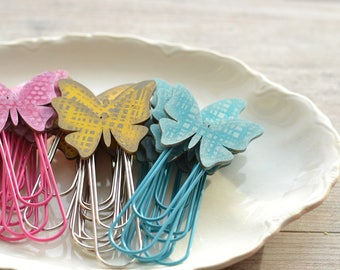 ONE Jumbo Paper Clip. Butterfly Clips. Spring Planner Clips. Spring Paper Clip. Jumbo Paper Clip. Turquoise Teacher Gift. Yellow. Hot Pink.