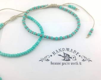 Hemp Bracelet, Set of Two Beaded Bracelets, Turquoise, Metallic, Bracelet, Braided Bracelet, Hemp Jewelry, Hemp, Jewelry.