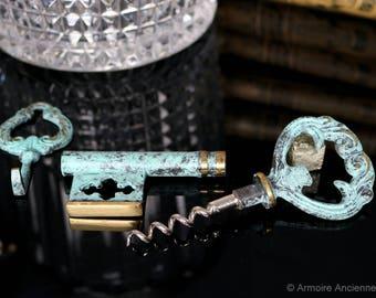 Vintage Brass Skeleton Key Corkscrew with a Hanger / Cap Lifter