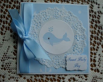 Nautical Baby Shower Card, Baby Boy, New Baby, Blue and White, Digital image of baby whale, 5 1/4 X 5 1/4, Greeting Card, Handmade