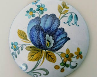 Vintage 1970s Blue Flower Pin Brooch Badge