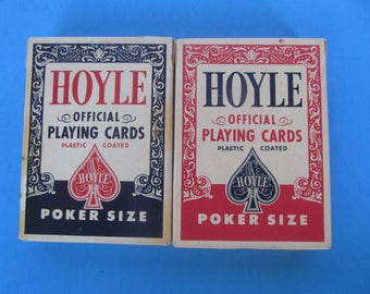 Hoyle Playing Cards - 2 sets - 2 Decks - Vintage Plastic Coated - Pocker PlayingCards