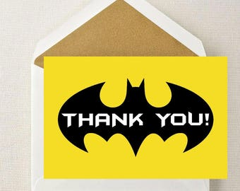 Batman Thank You Card // Batman Birthday Thank You // Superhero Thank You // Batman Party // Super Thank You // Super Thank You Cards