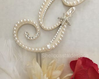 Monogram Wedding Cake Topper Pearl Wedding Cake Topper w/ Swarovski Crystals Destination Wedding Letters A to Z Letter G