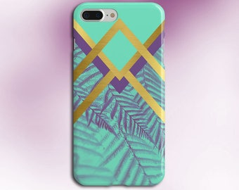 Faded Chevron Purple x Gold Palms Phone Case, iPhone 7, iPhone 7 Plus, Rubber iPhone Case, Galaxy s8, Google Pixel, Summer Outdoors