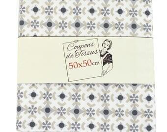"Cut of fabric 100% cotton ""Black Again"" 50cm X 50 cm"