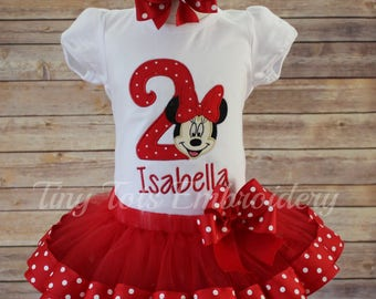 Minnie Mouse Birthday Outfit ~ Minnie Tutu Outfit ~ Includes Top, Ribbon Trim Tutu and Hair Bow ~ Customize In Any Colors of Your Choice!