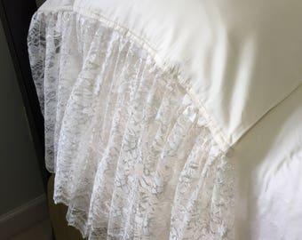"""KING 14"""" RUFFLE LACE Pillowcase Sham (1) Ivory Organza Lace 320TC Cotton Sateen"""