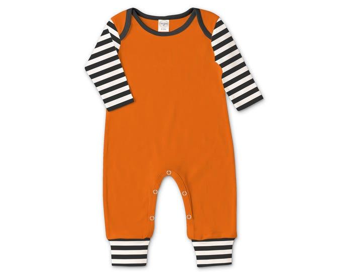 Newborn Halloween Romper Orange and Black, Baby Boy Halloween Bodysuit, Baby Girl Halloween Bodysuit, Black Orange Stripes, Tesababe 81OEOB