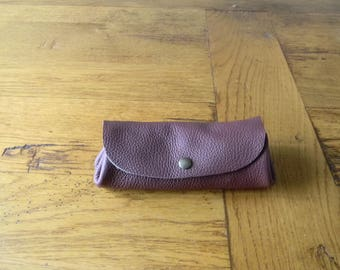 Leather wallet hand made Burgundy