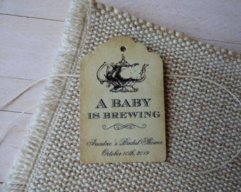 A baby is Brewing Tag. Personalized Favor Tags. Wedding Favor Tags. Tea Party Labels. Set of 25 to 300 pieces, Custom Language available.