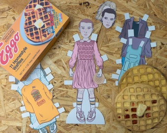 Eleven Paper Doll, dress up doll, stranger things, the upside down, geek gift, eggos, stranger things paper doll