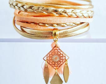 Multi strand Golden apricot marriage was Bohemian leather cord Cuff Bracelet