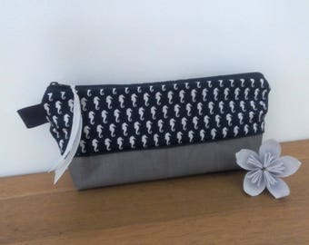 Waterproof pouch for pencils Navy seahorses