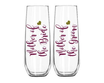 Set of 2 Mother of the Bride Champagne Glass, Mother of the Groom Champagne Glass, Mother of the bride gift, Mother of the groom gift