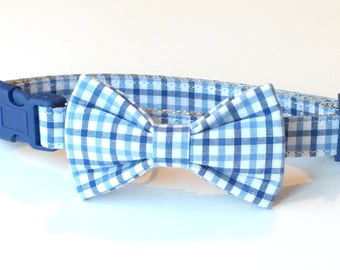 Preppy Blue Plaid Dog Collar Bow Tie set, pet bow tie, collar bow tie, wedding bow tie