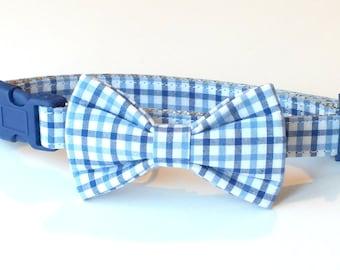 Preppy Blue Plaid Dog Collar Bow Tie set, pet bow tie, collar bow tie, wedding bow tie