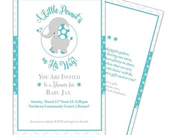 Printable, Baby Elephant, Little Peanut, Baby Shower Invitation, Mom and Dad are Having One More, Teal, Gray, White, Circus, New Sibling