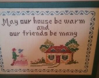 Heart Warming Wishes - Framed Needlepoint Folk Art