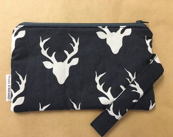 Navy Blue Staghorn Clutch /  Pencil Case with wristlet