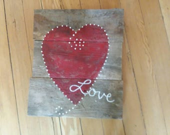 Hand painted heart on barnwood