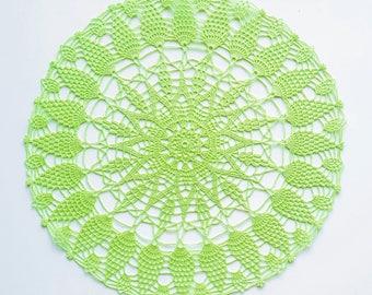 Handmade crochet green doily No.4